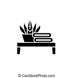 Bathroom table black icon, vector sign on isolated background. Bathroom table concept symbol, illustration