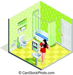 Hygiene icons isometric composition with realistic bathroom interior sanitary fitments and female character drying her hair vector illustration