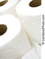 Three rolls of bathroom tissue