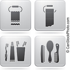 Bathroom utensils - Bathroom theme icons set covering ...
