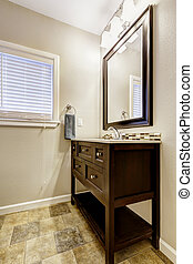 Bathroom vanity cabinet with drawers and mirror