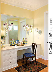 vanity - bathroom vanity with mirror and wood upholstered...