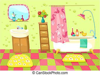 bathroom - vector illustration of a cute bathroom