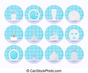 Bathroom vector flat icon set