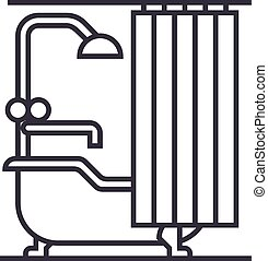 bathroom vector line icon, sign, illustration on background, editable strokes