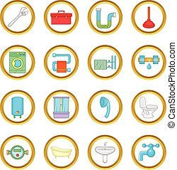 Bathroom vector set, cartoon style