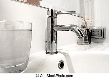 Bathroom wash basin with water glass - White bathroom wash...