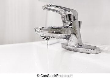Bathroom water faucet with water leak