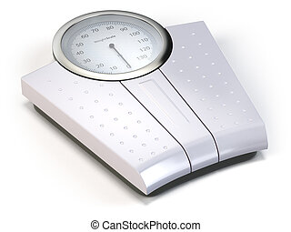 Bathroom weight scale isolated on white.