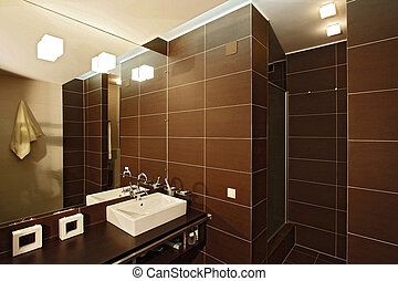 Bathroom with a mirror, a bowl and a per capita cabin