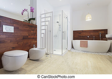 Bathroom with bath and a shower