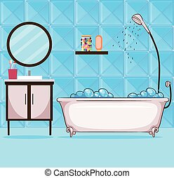 Illustration Of A Bathtub With Bubbles In A Girly Bathroom