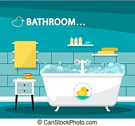 Bathroom with Bathtube Cartoon. Vector Flat Design Illustration with Rubber Duck and Furniture.