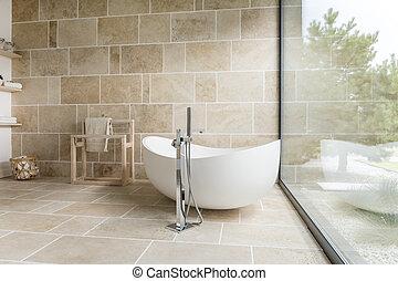Bathroom with big window