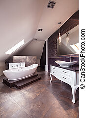 Bathroom with cristal details - Female bathroom with white...