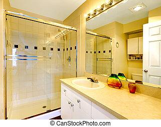 Bathroom with glass door shower
