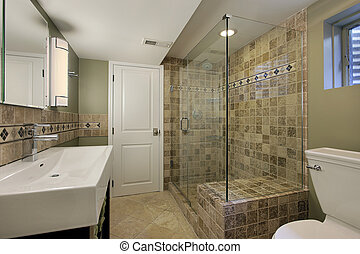 Bathroom in luxury home with glass shower