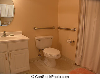Bathroom with grab bars - muted toned bathroom with grab...