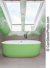 Bathroom with green bathtub
