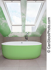 Bathroom with green bathtub