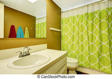 Bathroom with neon green curtain