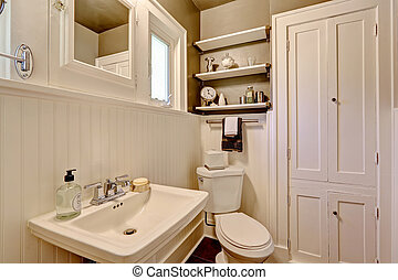 Bathroom with plank paneled wall - Simple bathroom interior...