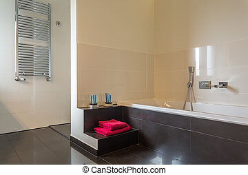 Bathroom with red towel