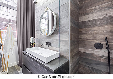 Bathroom with shower and basin - Bathroom with walk in...
