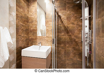 Bathroom with shower and sink - Marble bathroom with shower...