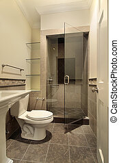 Bathroom with shower - Bathroom in new construction home ...