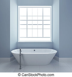 bathroom with tub and windows 3d render