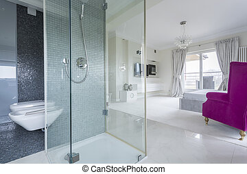 Bathroom with view of bedroom - Bathroom with view of a...