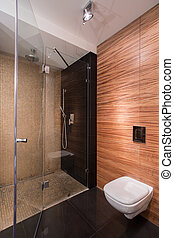 Bathroom with wall imitating wood - Picture of new bathroom...