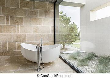 Bathroom with window wall
