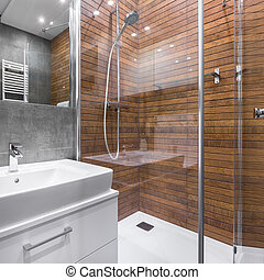 Bathroom with wood effect shower