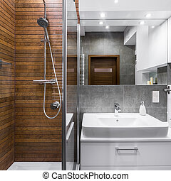 Bathroom with wood effect tiles