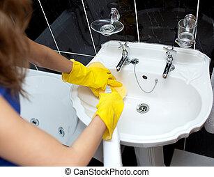 bathroom's, kvinna, rensning, sänka