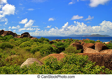 Rocks along the shore on the island of Virgin Gorda in the Caribbean