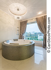 Bathtroom with oval bathtub - Luxurious bathtroom with oval...