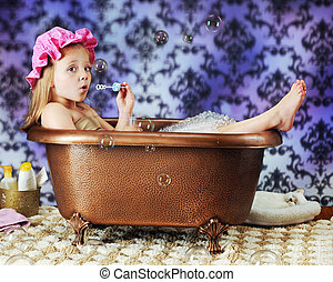 Bathtub Bubble Blower - A beautiful preschooler blowing...