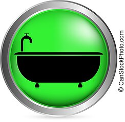 Bathtub button on white background. Vector illustration.