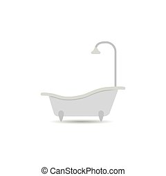 Bathtub icon. Bathtub vector isolated on a light background. Element for your design.