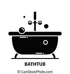 bathtub icon, black vector sign with editable strokes, concept illustration