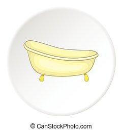 Bathtub icon, cartoon style