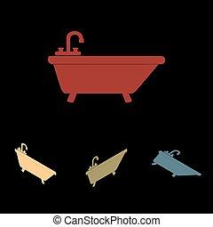 Bathtub icon set