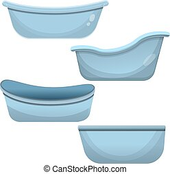 Bathtub icon set, cartoon style