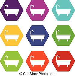 Bathtub icon set color hexahedron