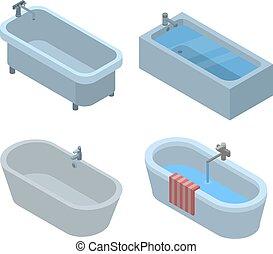 Bathtub icon set, isometric style