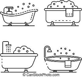 Bathtub icon set, outline style