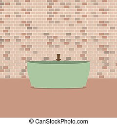 Bathtub In Front Of Brick Wall.